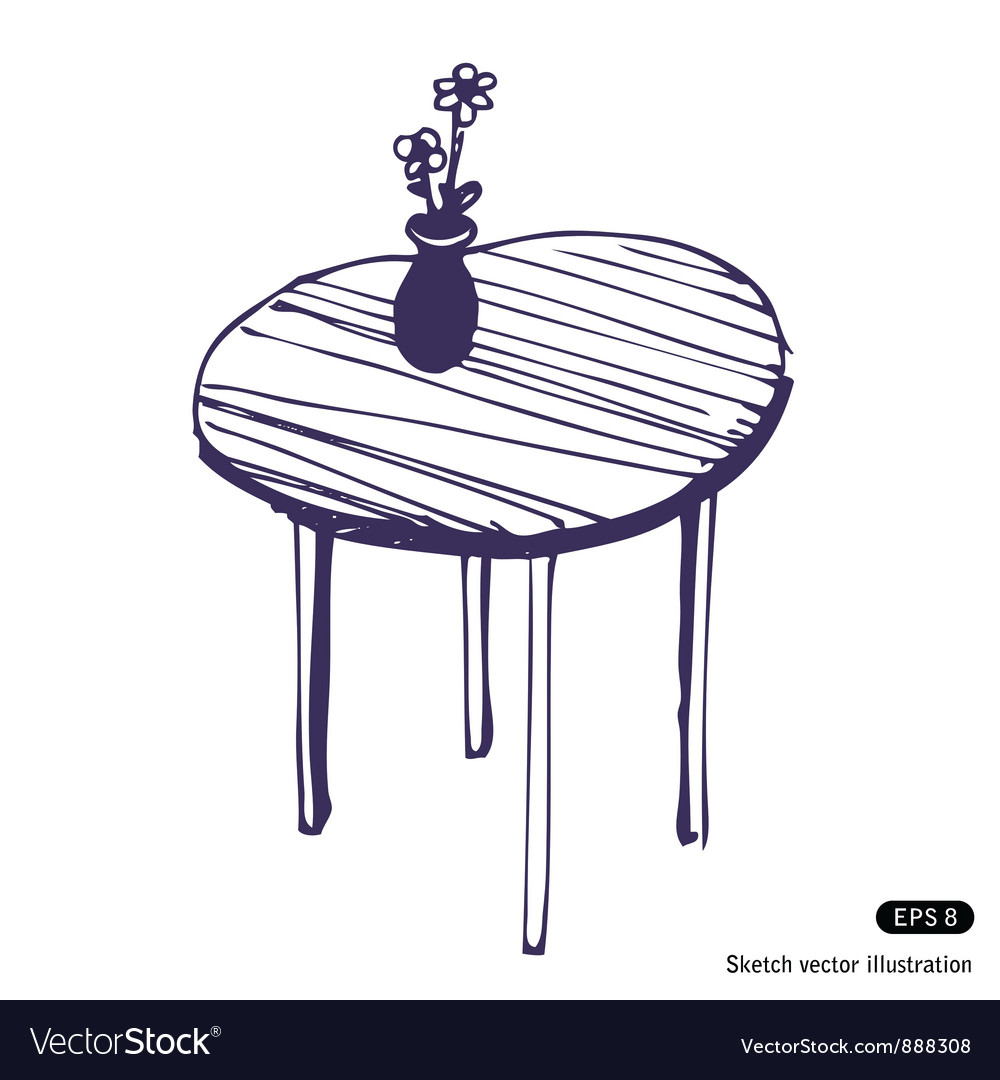 Beautiful table and vase vector
