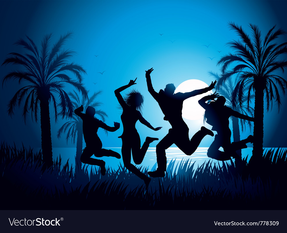 Tropical beach dancers vector