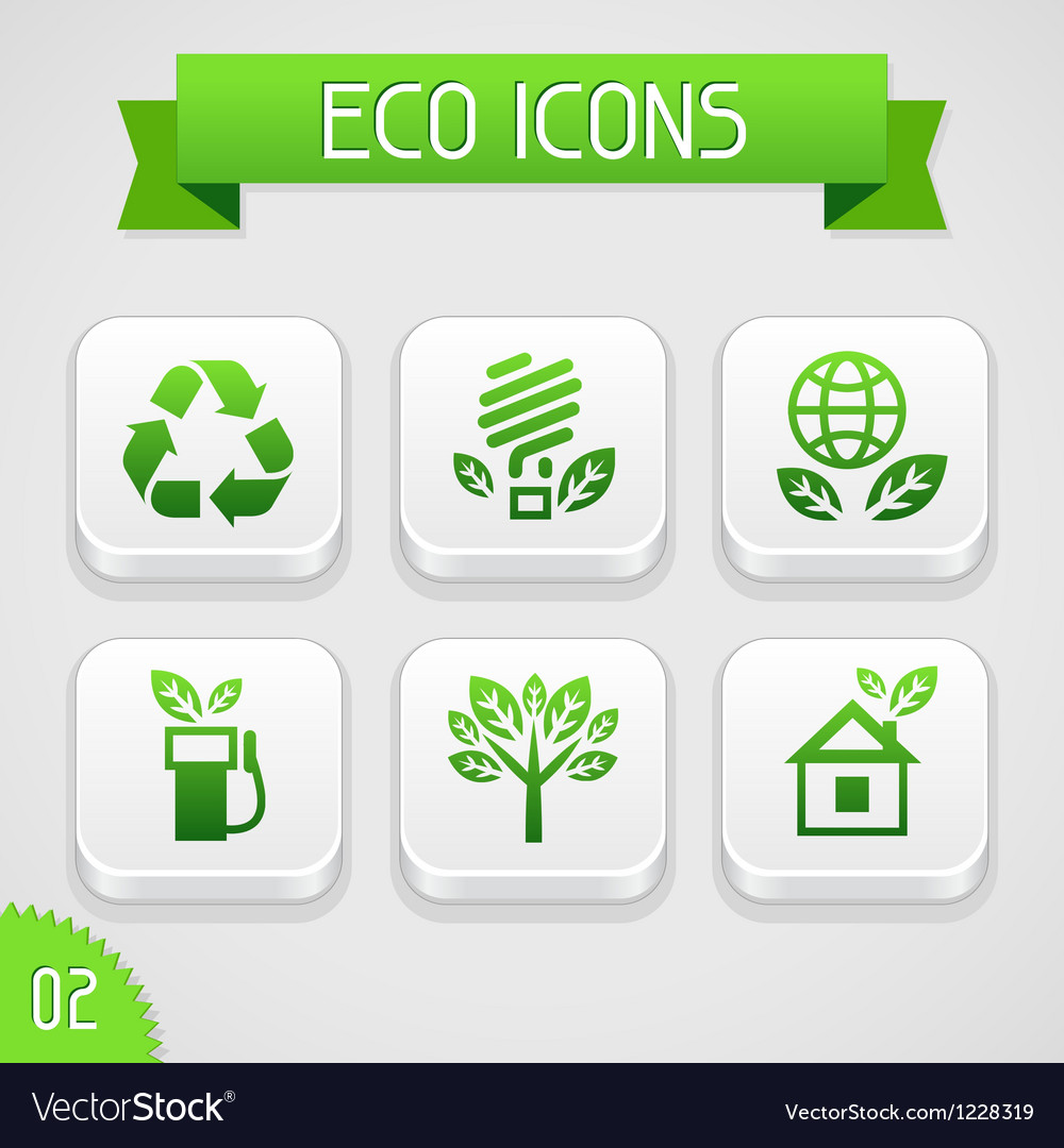 Collection of apps icons with eco elements set 2 vector