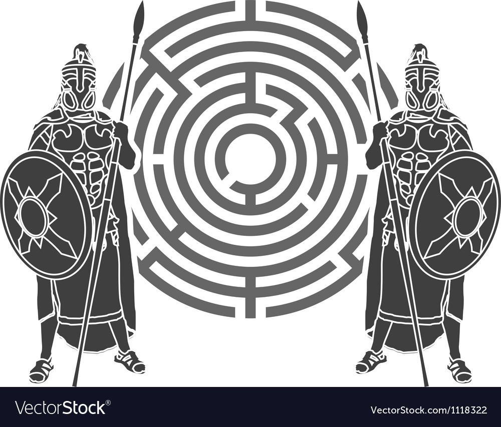 Labyrinth and guards stencil vector