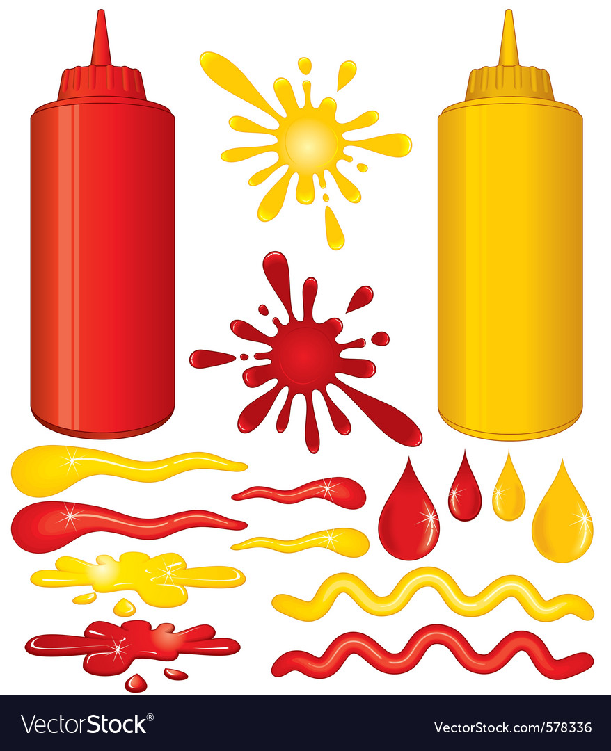 Saucy mustard and ketchup sauce vector