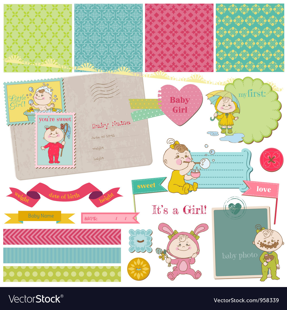 Scrapbook design elements  baby girl shower set vector