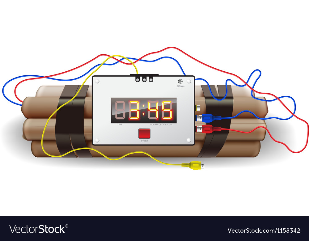 Explosives with alarm clock isolated on white vector