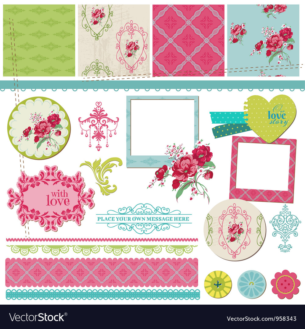 Scrapbook design elements  vintage flower card vector