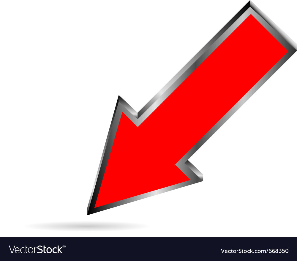 Red downloads arrow on white vector
