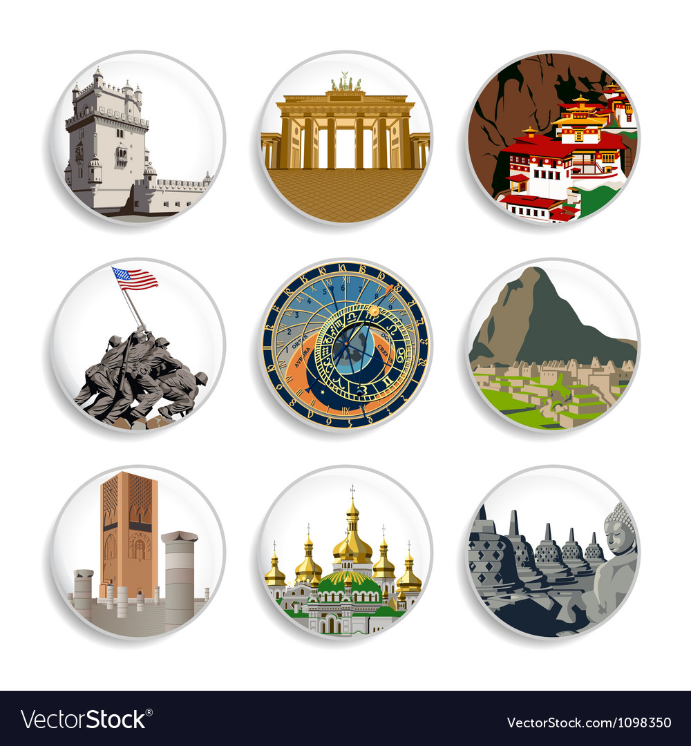 Travel destination badges  set 4 vector