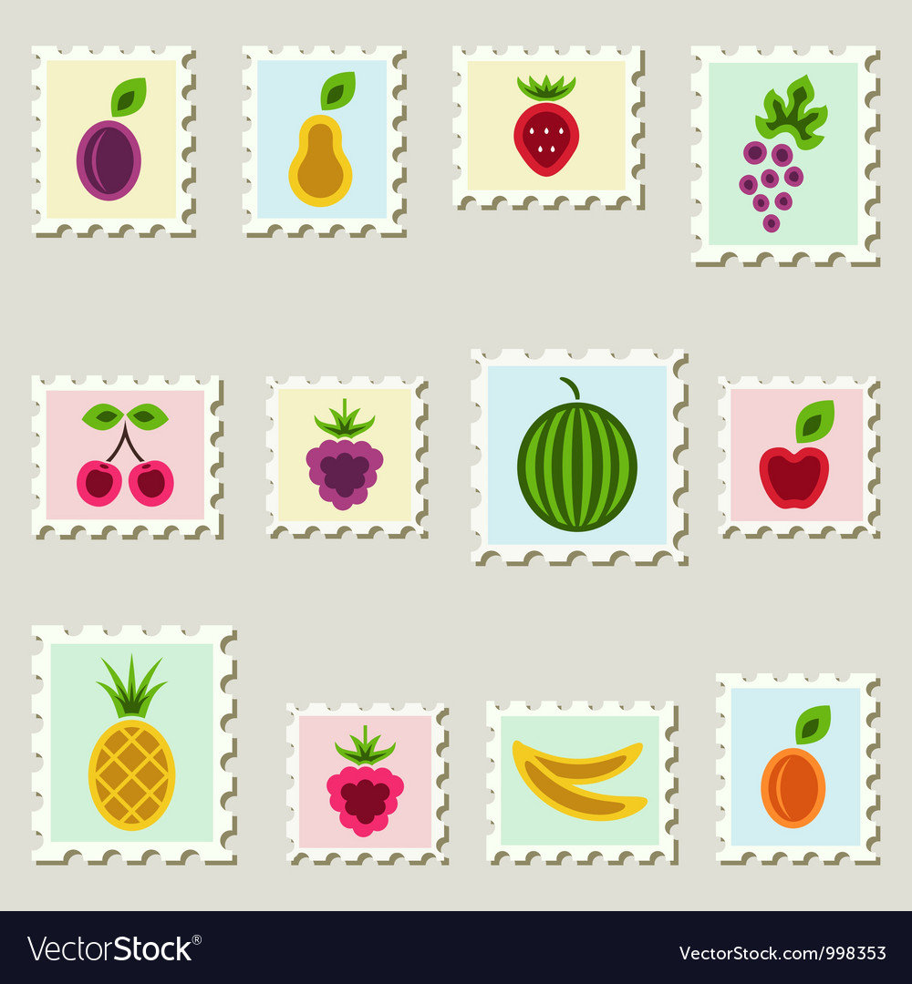Postage stamps fruits set vector