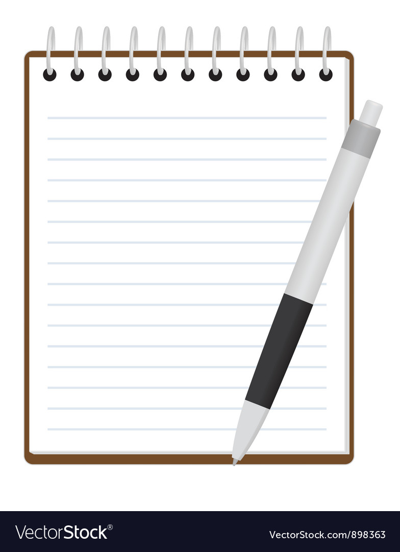 Notepad with pen vector