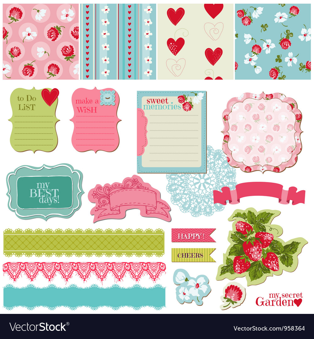 Scrapbook design elements  vintage flowers vector