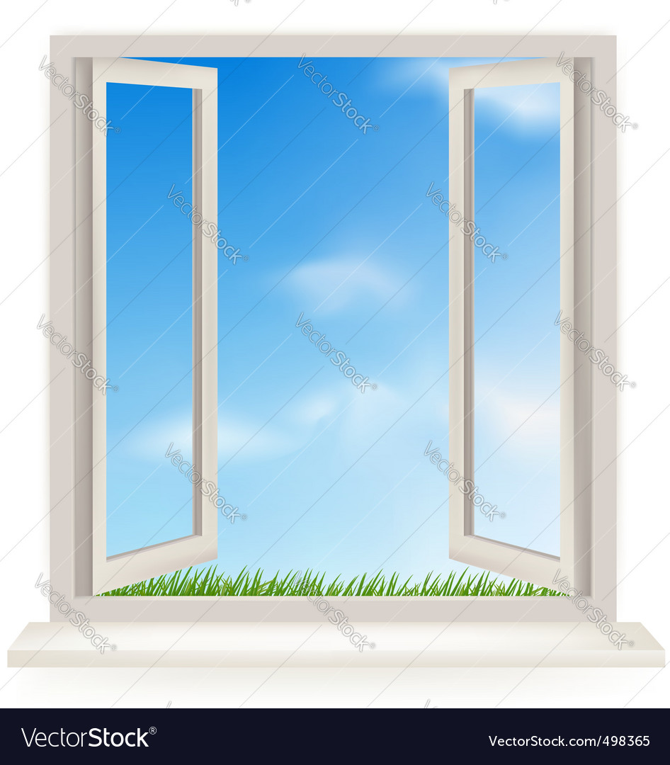Open window with blue sky vector