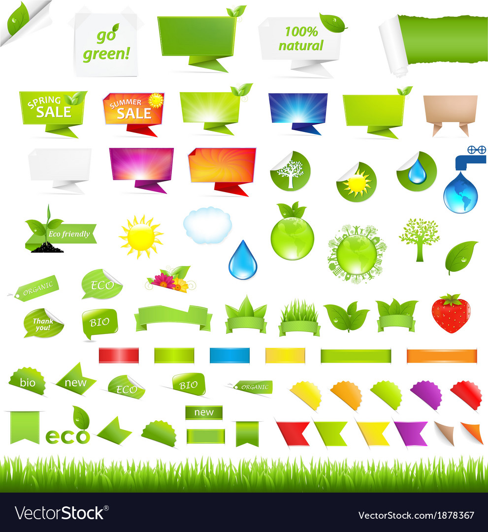 Eco collection design elements vector