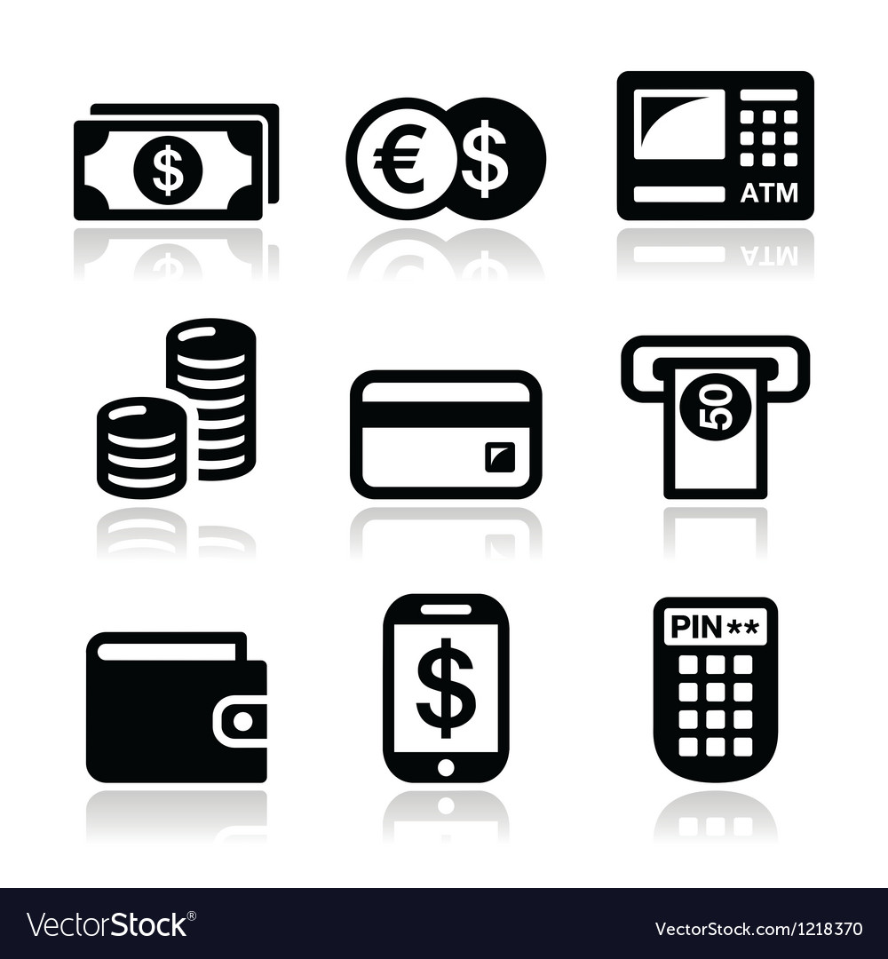 Money atm  cash mashine icons set vector