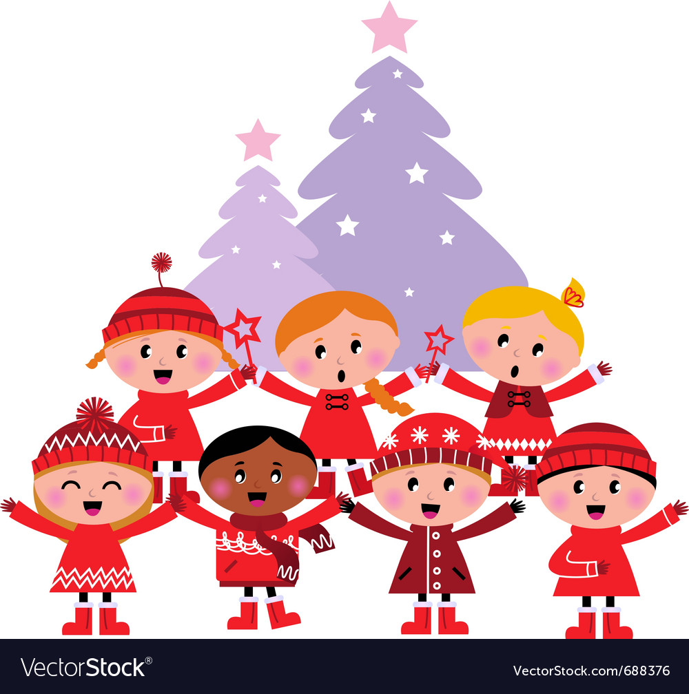 Free caroling christmas kids vector