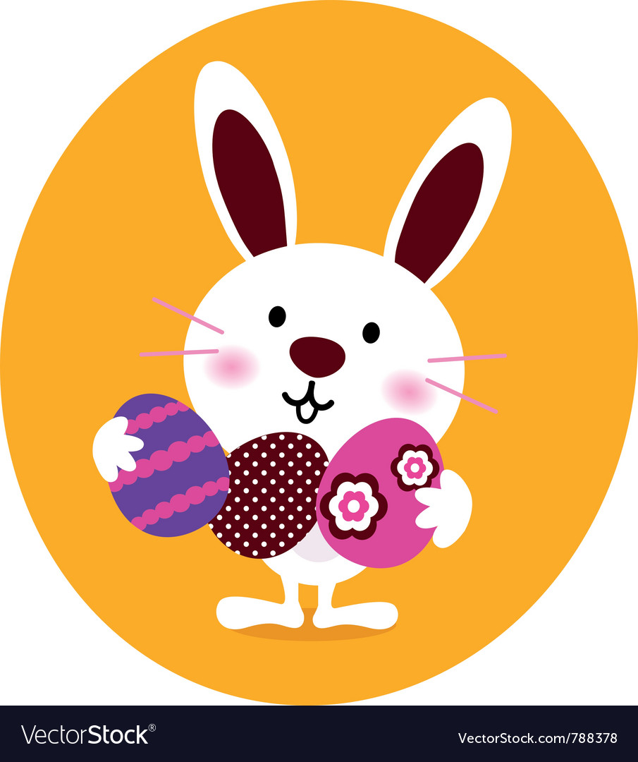 Bunny holding easter eggs vector