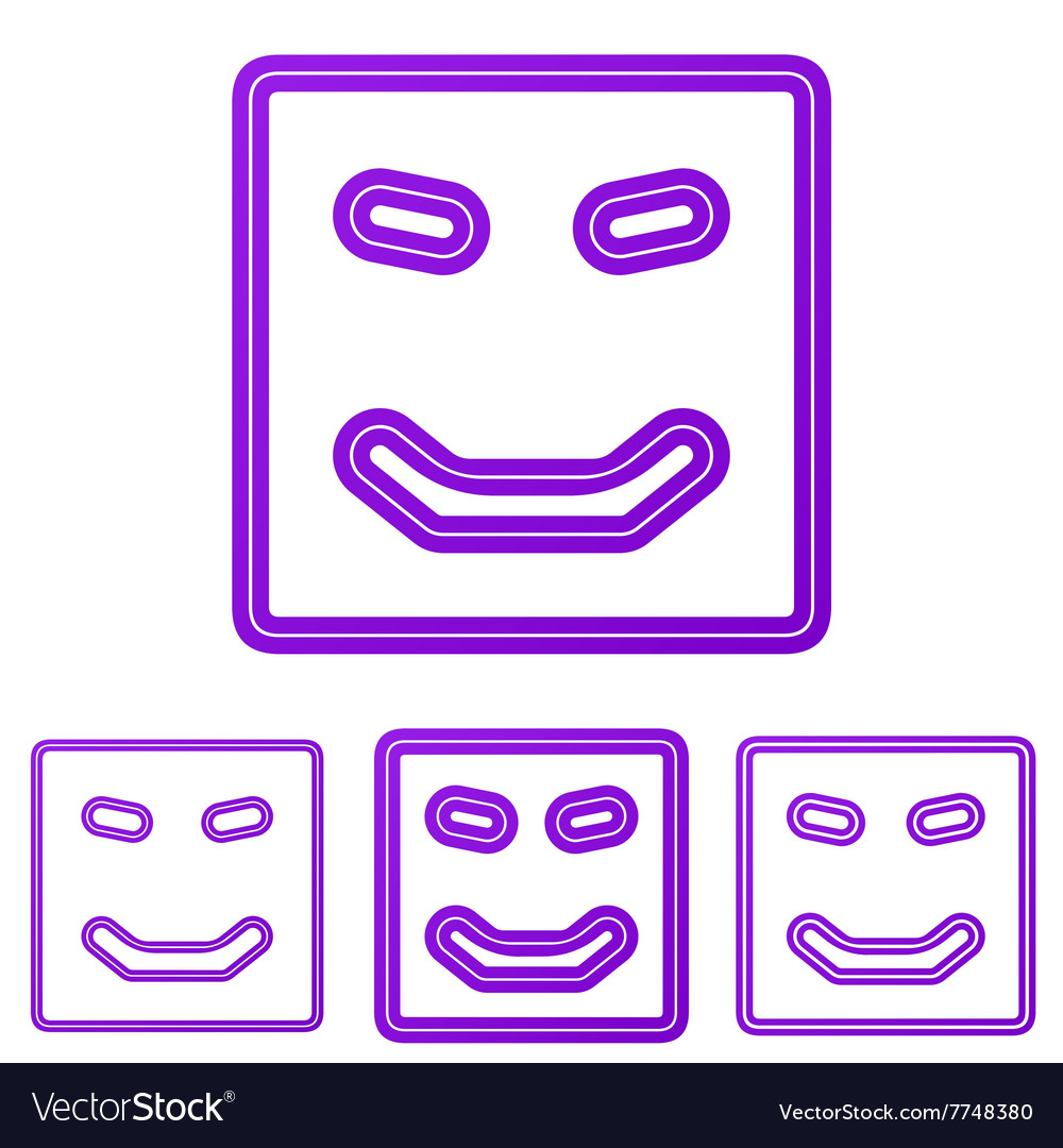 Purple line happy logo design set