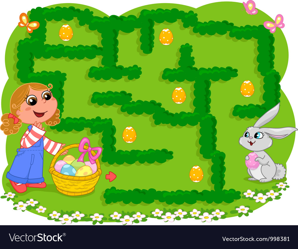 Kids game easter maze vector