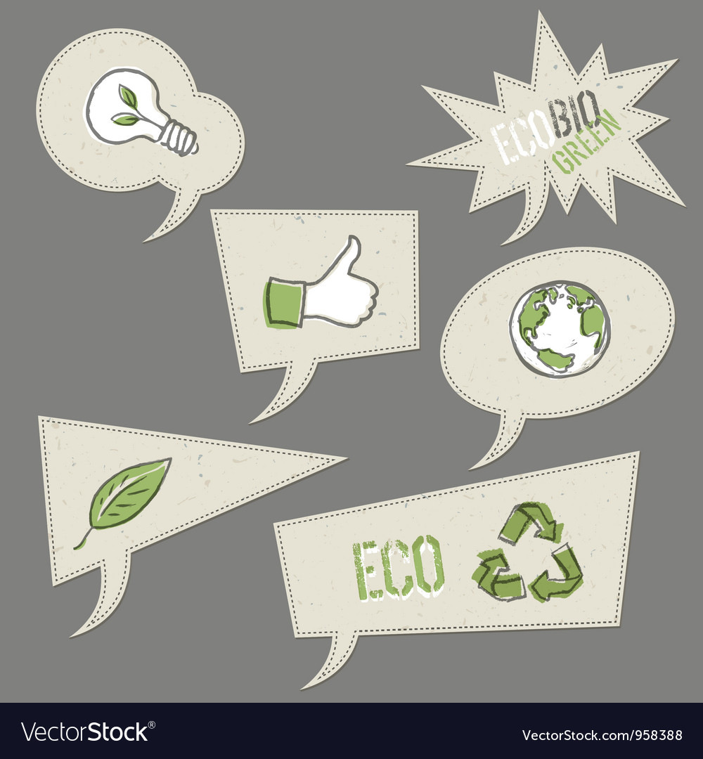 Ecology icons in speech bubbles collection vector