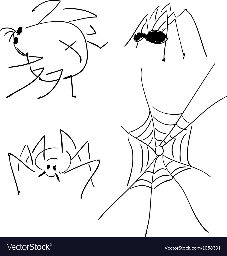 Sketches of spiders vector
