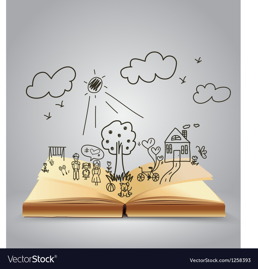 Book of happy family stories vector