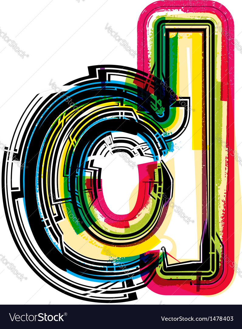 Colorful grunge font letter d vector