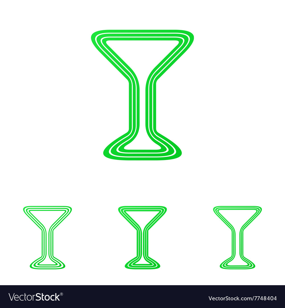 Green line drink logo design set