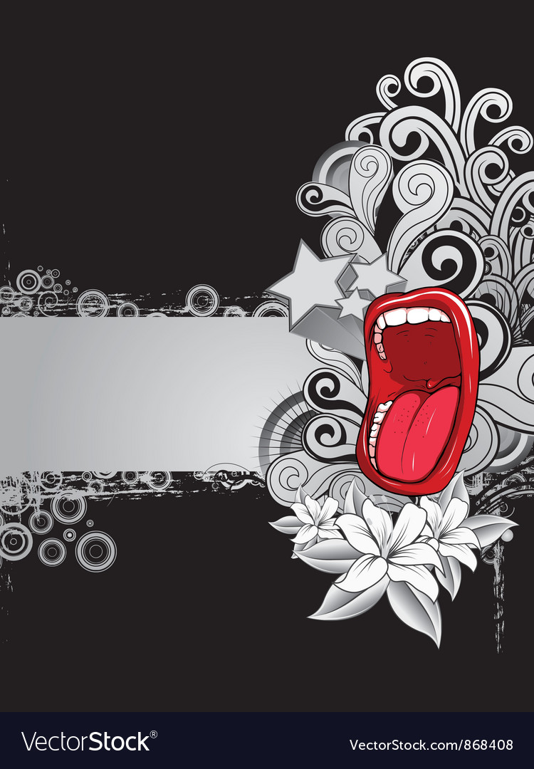 Free mouth with floral background vector