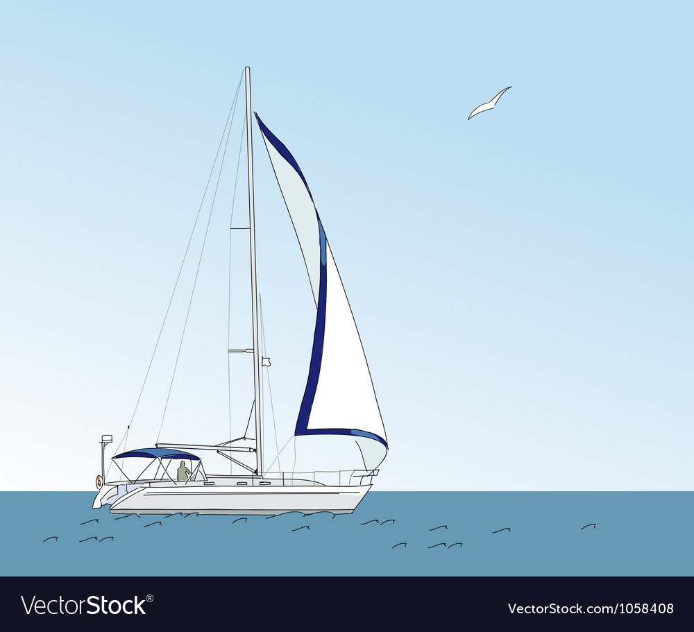 Yacht in the sea on a background of blue sky vector