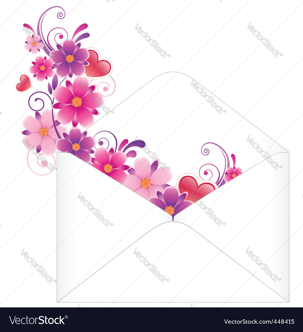 Envelope with flowers vector