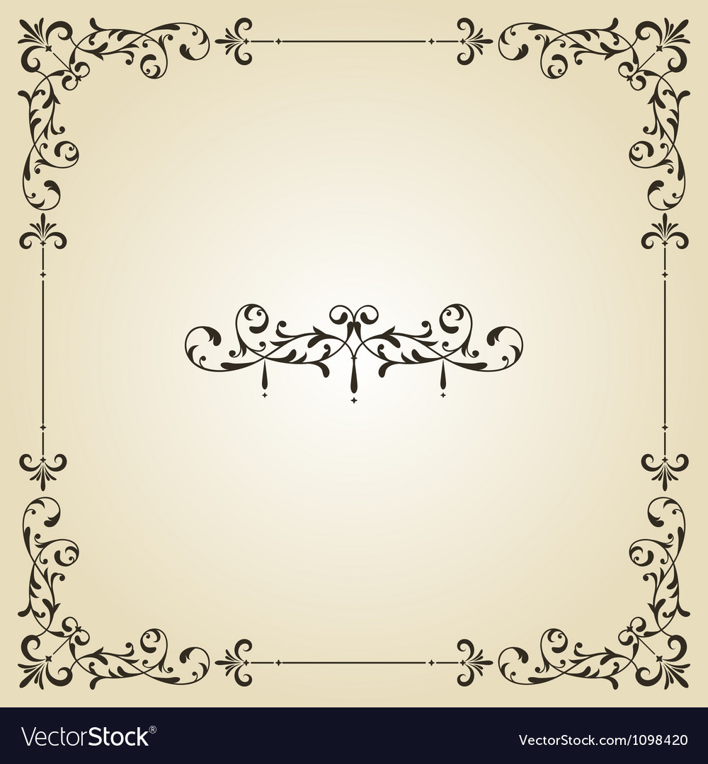 Vintage floral frame and retro royal label vector