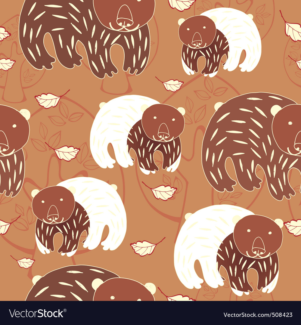 Autumn bear pattern vector