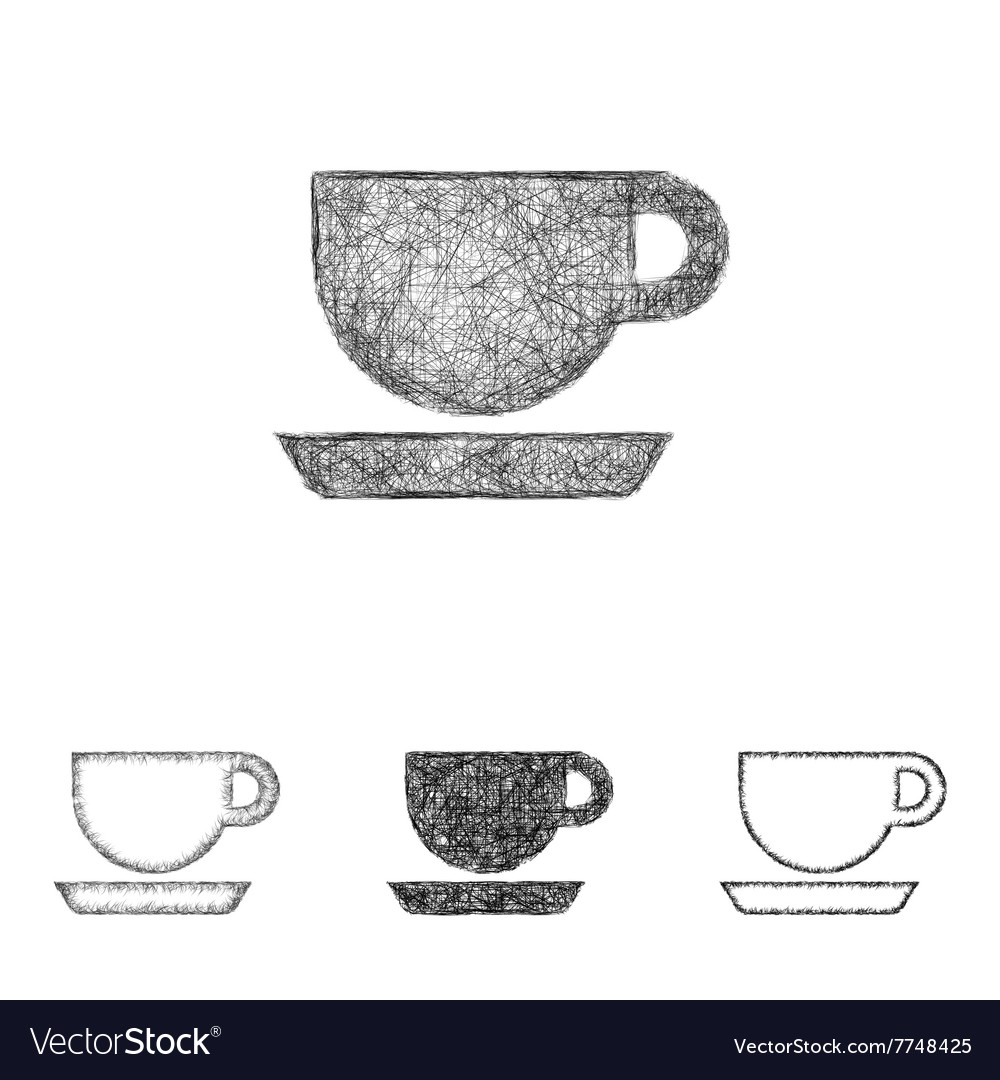 Coffee icon set sketch line art