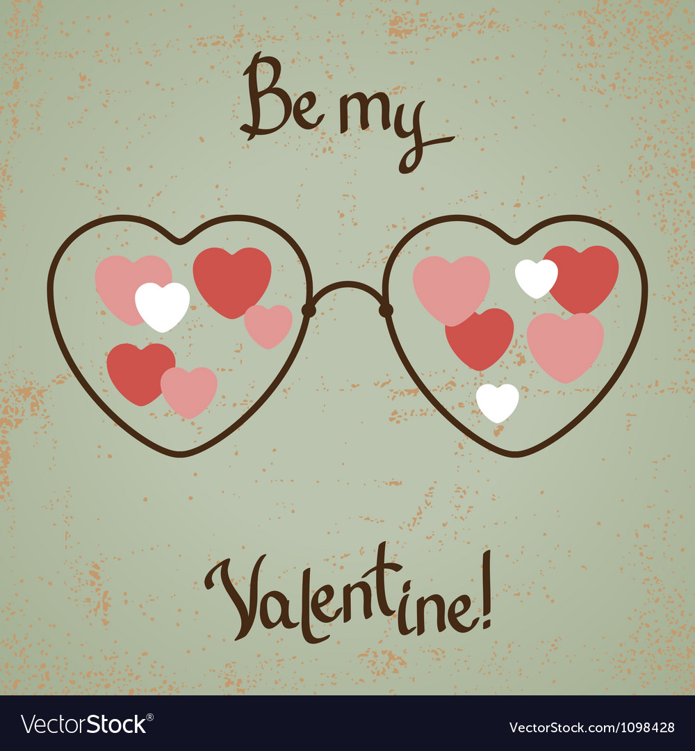 Valentine card with glasses heart vintage design vector
