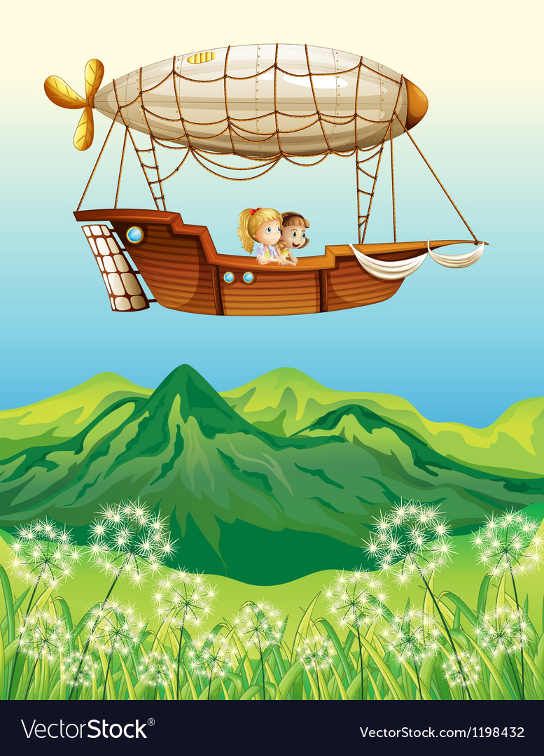 An airship carrying two young girls vector