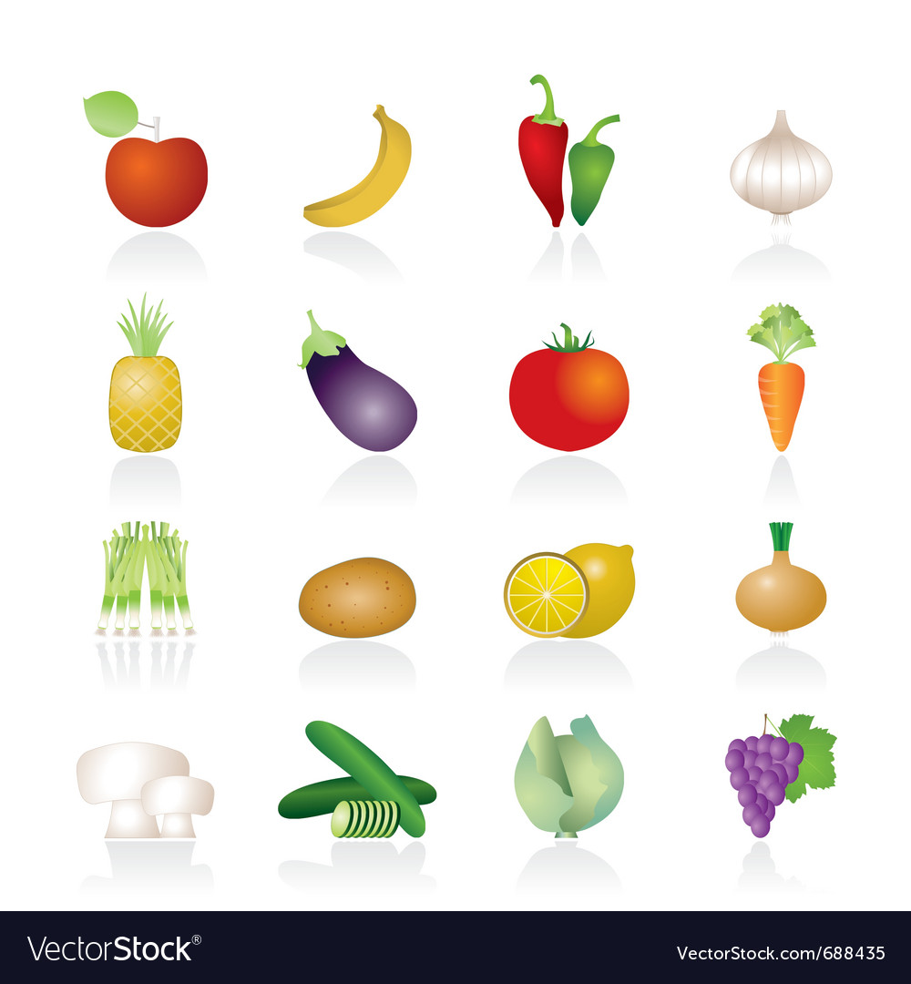 Different kind of fruit and vegetables icons vector