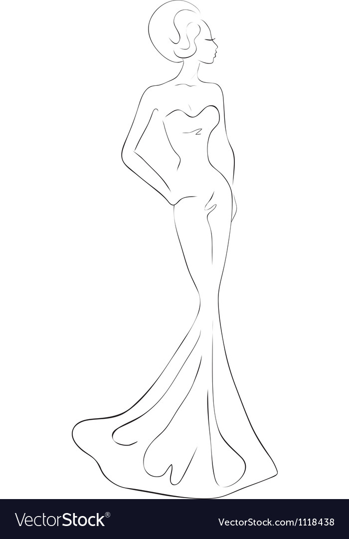 Woman in evening maxi dress vector