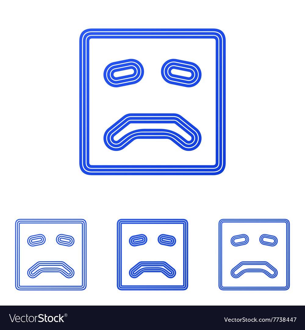 Blue line sad logo design set