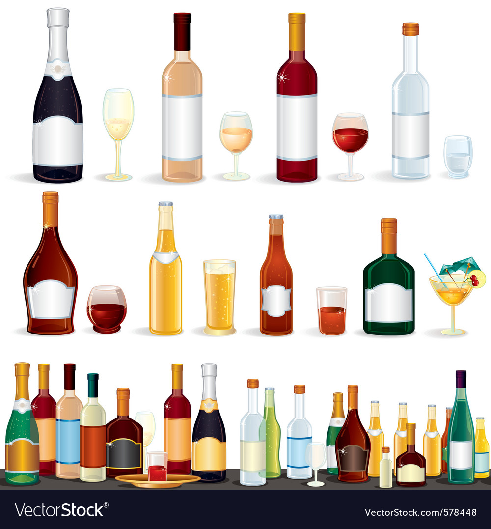 Variety popular alcohol beverage bottles from bar vector