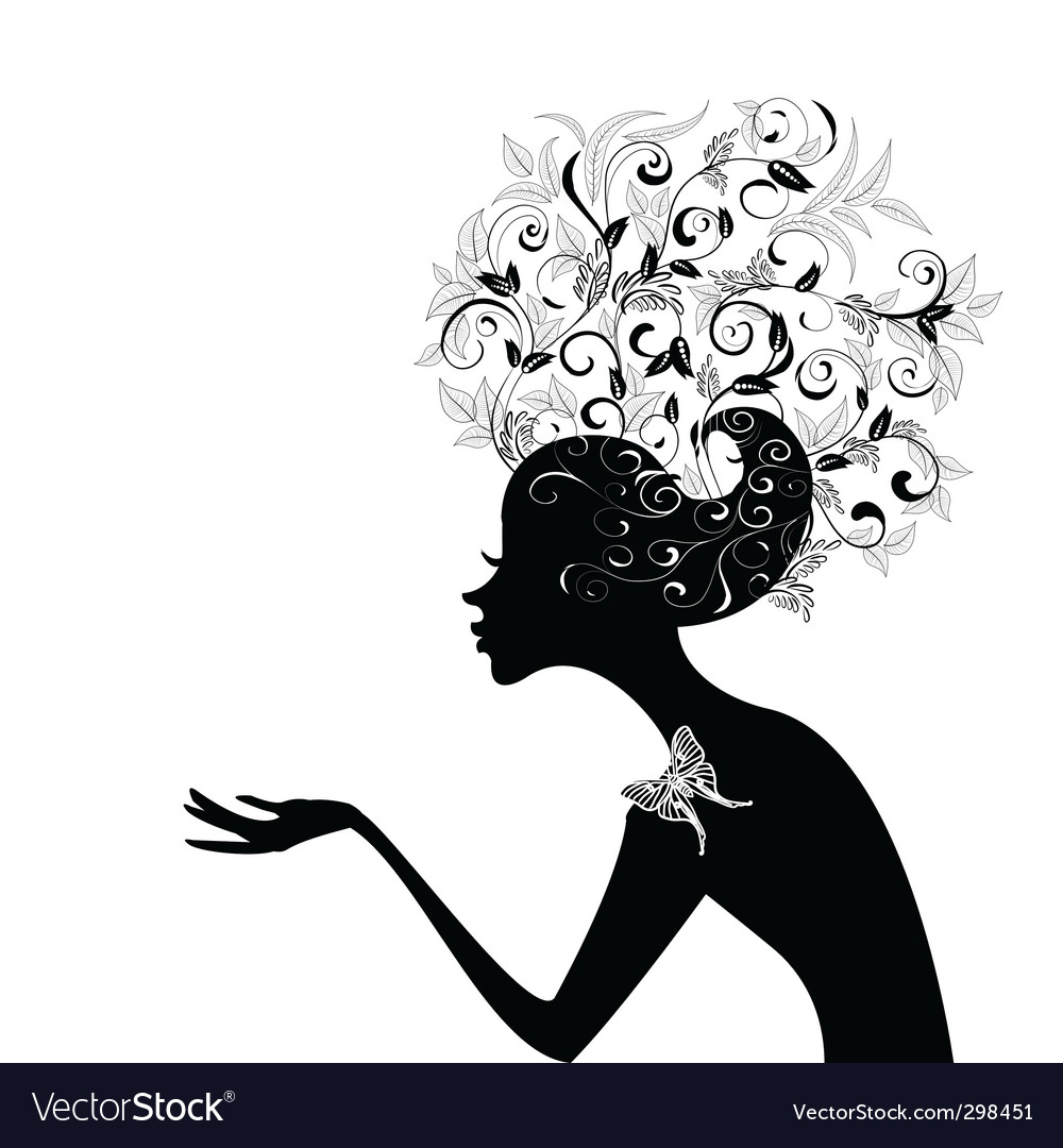 Girl with decorated hair vector
