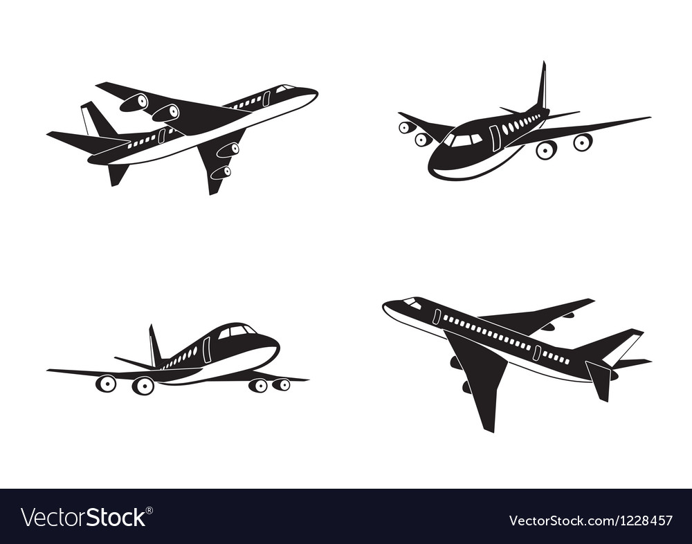 Passenger airplanes in perspective vector