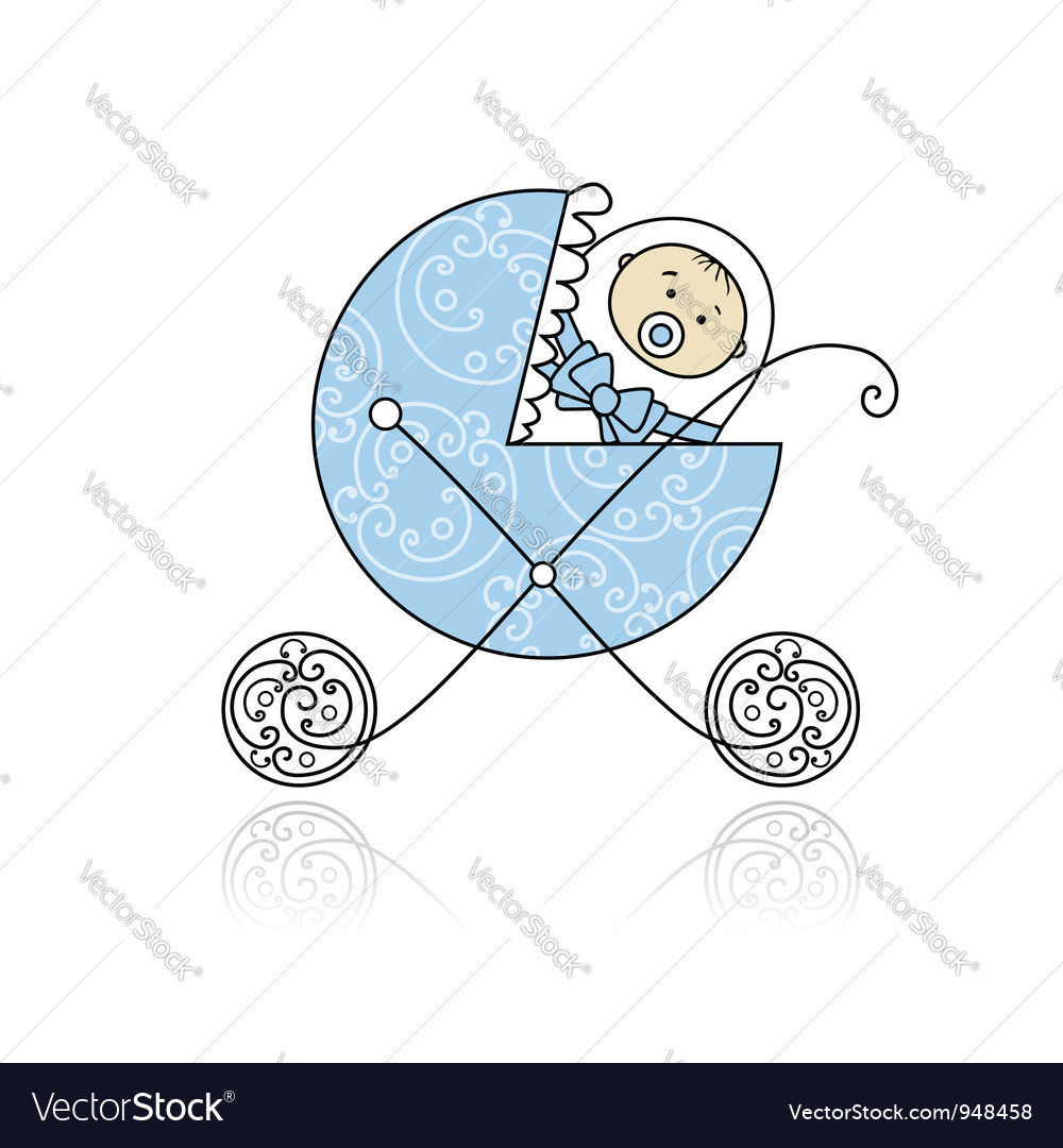 Newborn in babys buggy for your design vector