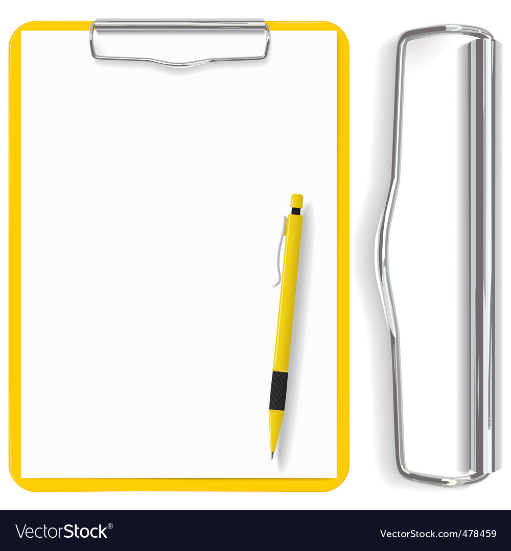 Clipboard paper sheet and pen vector