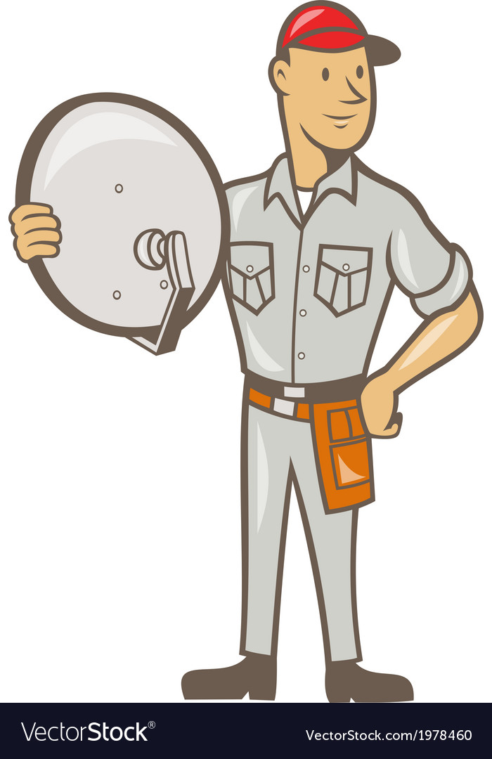 Cable tv installer guy standing vector by patrimonio - Image ...