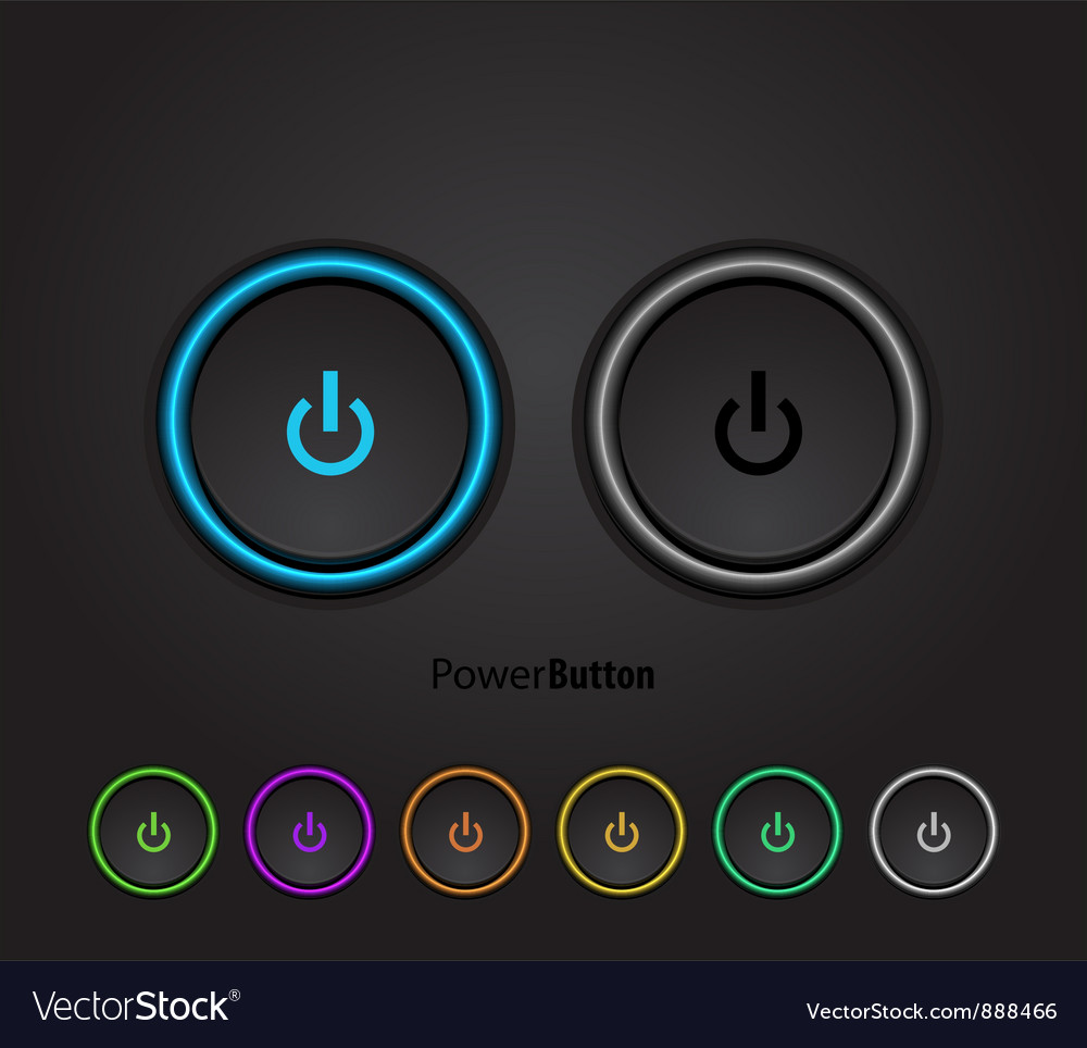 Black led light power button vector