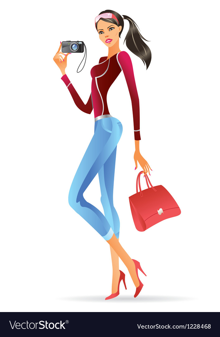Fashion model presenting a new digital camera vector