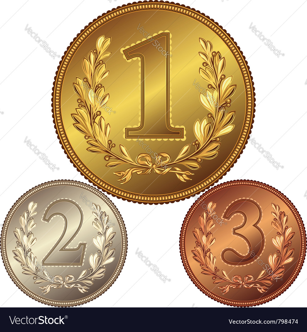Gold silver and bronze medal vector
