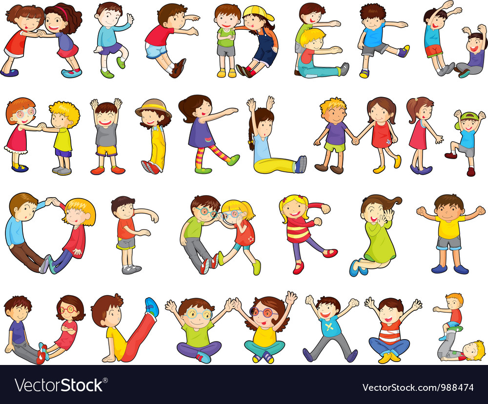 Kids formed alphabets chart vector by iimages - Image #988474 ...