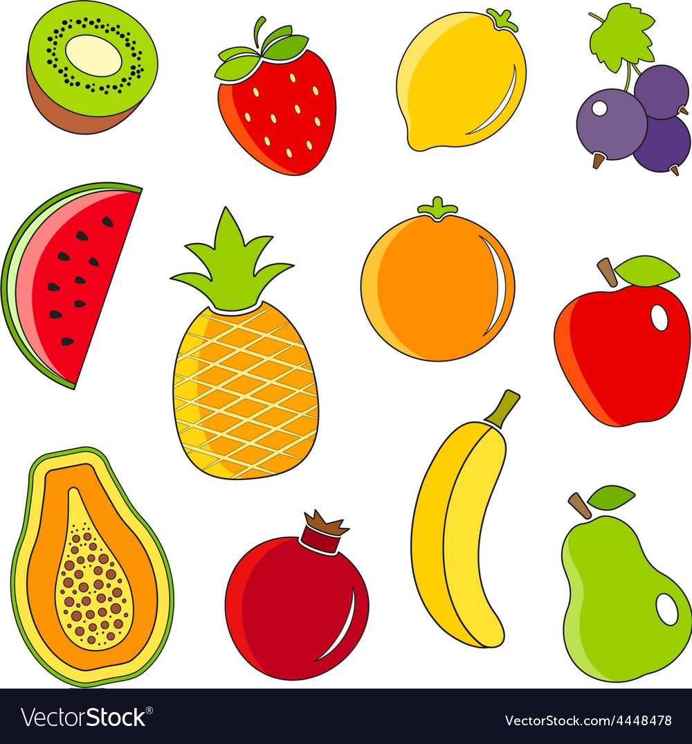 Organic fresh fruits and berries outline icons