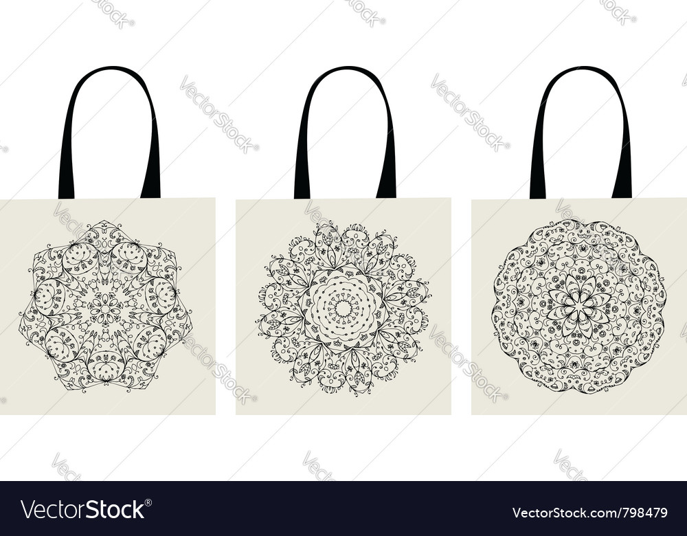 Shopping bag arabesque ornaments vector