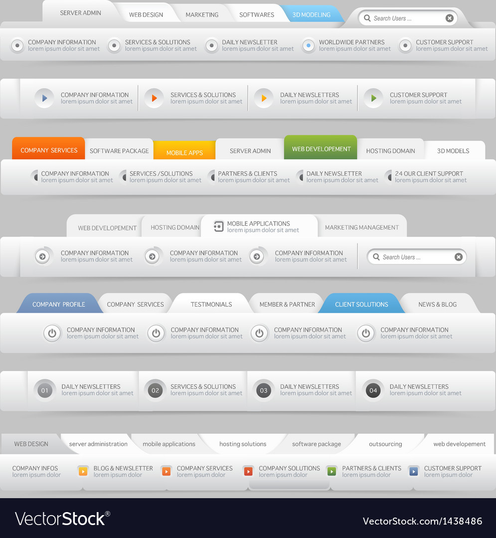 Web site design menu elements with icons set vector