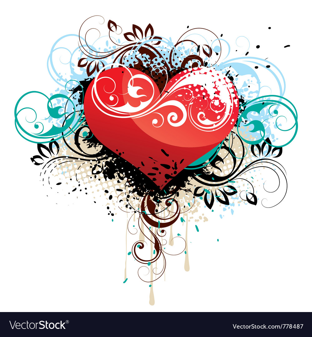 Floral heart background vector